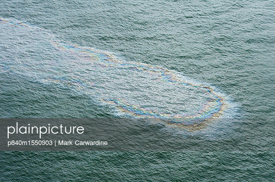Aerial view of oil on surface of the sea during the Deepwater Horizon oil spill, Louisiana, Gulf of Mexico, USA, August 2010 - p840m1550903 by Mark Carwardine