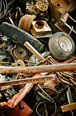Rusted Metal And Tires In Junkyard, Maricourt, Quebec - p442m936030 by Patrick La Roque
