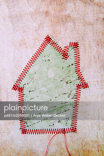 Sewed house - p451m2258031 by Anja Weber-Decker