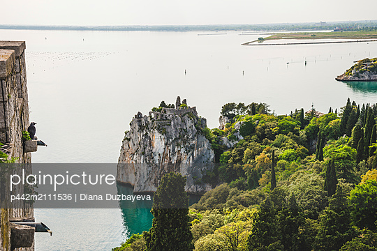 View of the Gulf of Trieste from Duino Castle; Italy - p442m2111536 by Diana Duzbayeva