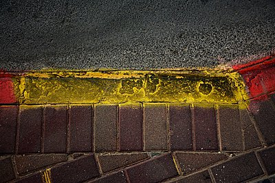 Bus stop marks on sidewalk - p1072m993445 by Tal Paz-Fridman photography