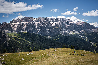 Rest and contemplation of the Sella group, South Tyrol, Italy, Europe - p1062m2199765 by Viviana Falcomer