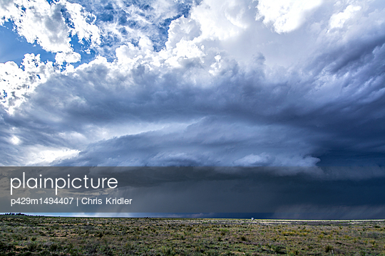 Supercell thunderstorm spins over desert, Tatum, New Mexico, USA