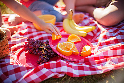Fruit on picnic blanket in field - p429m768851f by Jamie Kingham