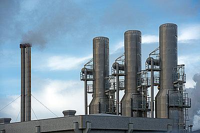 Power plant smoke stacks - p555m1415728 by Pete Saloutos