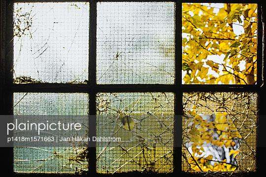 Zerbrochene Fensterscheiben in Industriegebäude - p1418m1571663 von Jan Håkan Dahlström