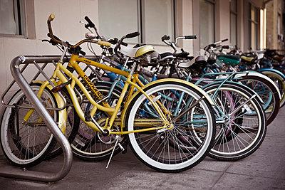 Bikes in rack. - p1072m1056615 by Joseph Shields