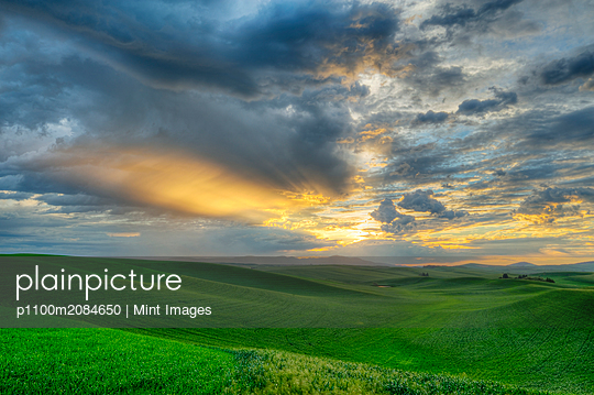 Dramatic sky over rolling hills in rural landscape,Pullman, Washington, USA - p1100m2084650 by Mint Images