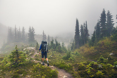 Rear view of backpacker hiking in the rain. - p1166m2162502 by Cavan Images