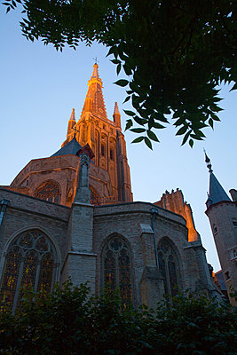 Spire and bell tower of cathedral - p555m1480197 by Tom Paiva Photography