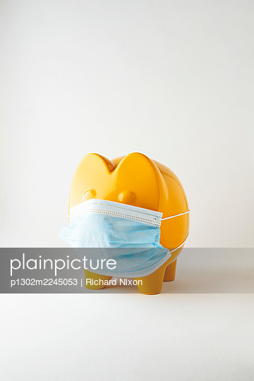 Yellow pig ornament wearing a disposable face mask. - p1302m2245053 by Richard Nixon