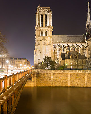 View of Notre Dame Cathedral and Pont au Double at night, Paris, France - p429m1014690 by Alex Holland