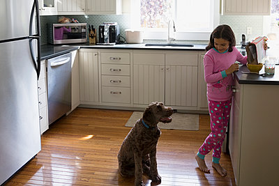 Dog watching girl pour cereal in kitchen - p1192m1078223f by Hero Images