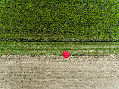 2 meter red dot between two Fields View from drone - p590m2191521 by Philippe Dureuil