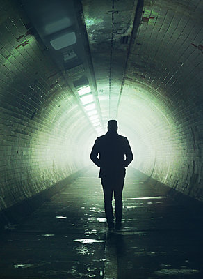 Man in tunnel - p984m1574944 by Mark Owen