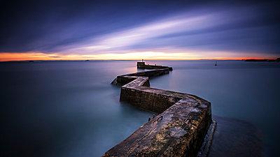 United Kingdom, Scotland, View of sea with pier - p300m982255f by Scott Masterton