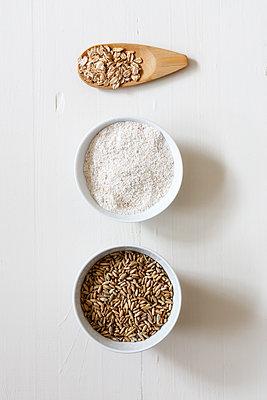 Rye flakes, rye flour and rye grains on white background - p300m1567925 by Eva Gruendemann