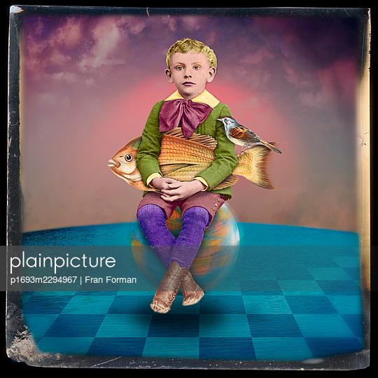 Boy on a Globe - p1693m2294967 by Fran Forman