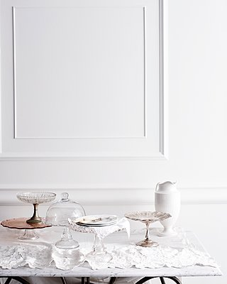 Selection of cakestands on traditional tea table - p429m1126026f by BRETT STEVENS