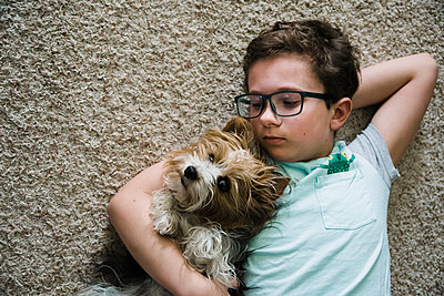 Boy looking at his pet lap dog lying on the floor in living room. - p1166m2107772 by Cavan Images
