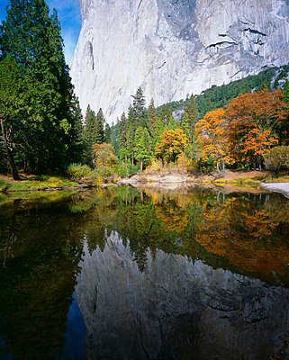 A mountain reflected in a lake, Yosemite National Park, Sierra Nevada, California, USA - p3018863f by Lothar Schulz