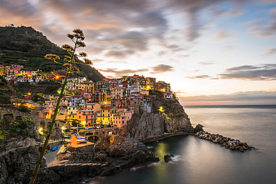 Europe, Italy,Liguria. Cinque Terre, Manarola at dawn. - p651m2034059 by Catherina Unger