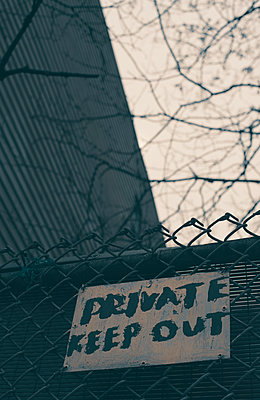 Keep Out Sign on Fence in Brooklyn - p1617m2222340 by Barb McKinney