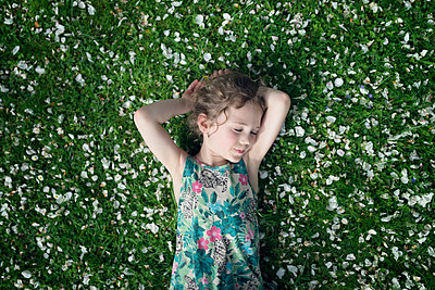 Little girl lying on meadow with scattered apple blossoms - p300m1029117f by Ophelia photography