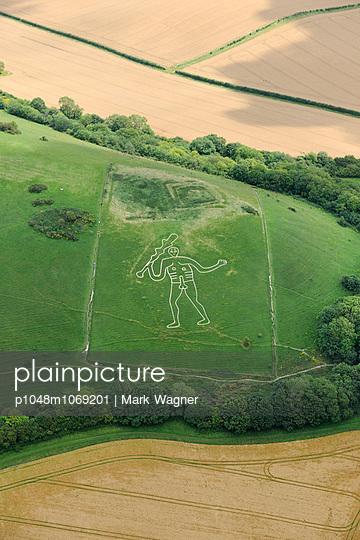 Cerne Abbas Giant aerial view - p1048m1069201 by Mark Wagner