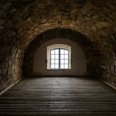 Window in fortress, Blekinge, Sweden - p312m927259f by Mikael Svensson