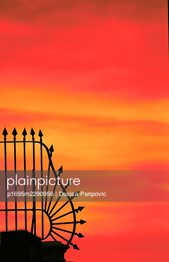Fence in the sunset - p1695m2290956 by Dusica Paripovic