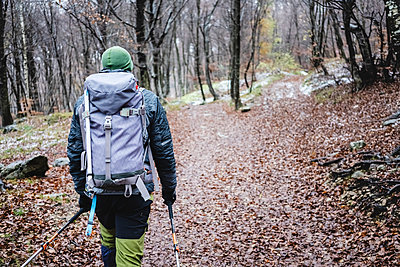 Man hiking in the autumn forest, Italian Alps, Como, Lombardy, Italy - p300m2156519 by 27exp