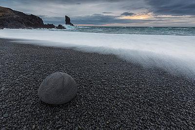 Wave crashing on the rocky beach of Djupalon; Snaefellsnes Peninsula, Iceland - p442m824135 by Robert Postma