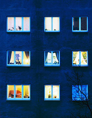 Lighted Windows In Apartment Buildings, Stockholm, Sweden   - p847m1443825 by Mikael Andersson