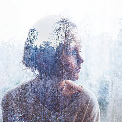 Multiple exposure of a girl in a winter forest - p1642m2245284 by V-fokuse
