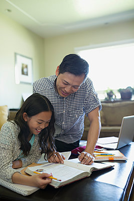 Father helping daughter with homework - p1192m1157993 by Hero Images