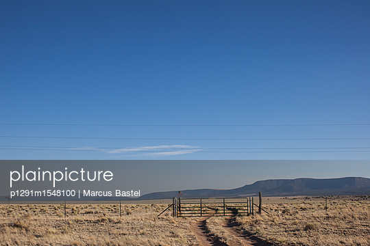 worn mudtrack leading towards cattle gate and beyond on bleached dried grasslands with distant mountains - p1291m1548100 by Marcus Bastel