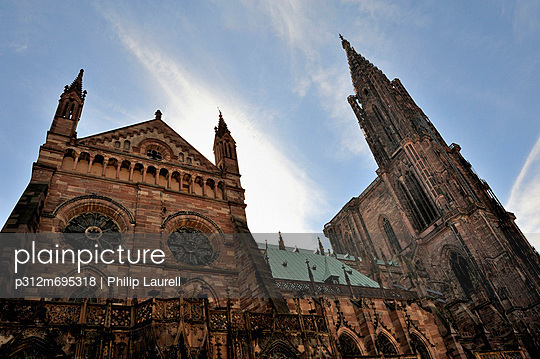 Low angle view of gothic cathedral, Strasbourg