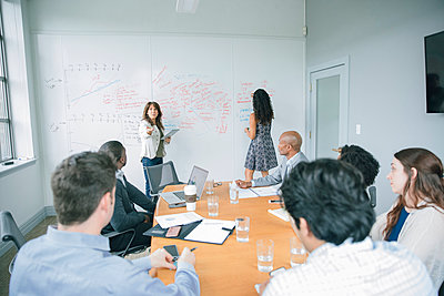 Businesswoman talking at whiteboard in meeting - p555m1504078 by John Fedele