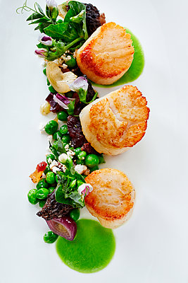 Close up of plate of fresh grilled scallops and sauce - p555m1414137 by Trinette Reed