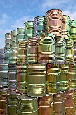 Metal barrels piled up - p300m879479 by Tom Hoenig