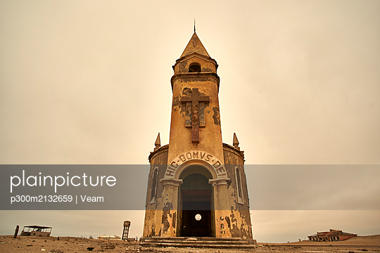 Church at the abandoned village of Ilha dos Tigres, Angola. - p300m2132659 by Veam