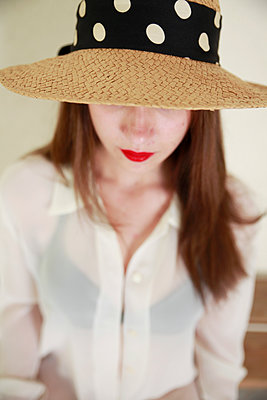 Woman with hat - p1105m2082547 by Virginie Plauchut