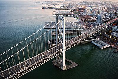 Aerial view of Bay Bridge - p1166m1164450 by Cavan Images