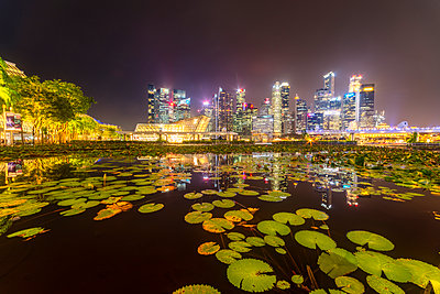 Singapore, Financial district, High rise buildings at night - p300m2081487 by Scott Masterton