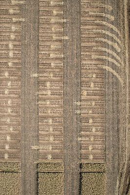 Full frame aerial view of crops in agricultural landscape, Stuttgart, Baden-Wuerttemberg, Germany - p301m1406300 by Stephan Zirwes