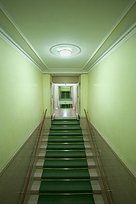 Green stair case in Vienna state opera house - p609m1017606 by WRIGHT