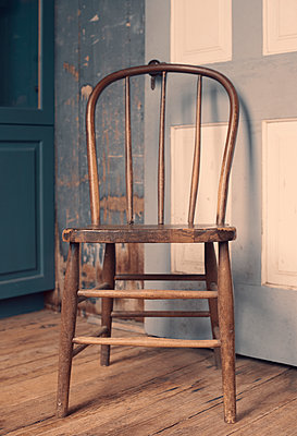 Antique Spindle Back Chair in Rustic Room - p1617m2264076 by Barb McKinney