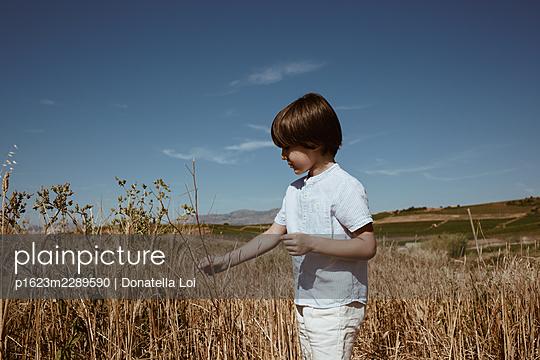 Little boy in rural landscape - p1623m2289590 by Donatella Loi