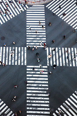 Aerial view of pedestrian crossing, Tokyo, Japan - p651m2062169 by Matteo Colombo photography